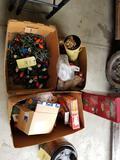 Christmas decor, fiber optic tree, dalmation figurines
