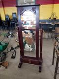Dressing mirror with built in jewelry cabinet