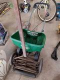 Fert spreader, reel mower