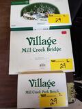 Dept 56 Village accessories, The Trout Stream, Mill Creek Bridge, Mill Creek Park Bench. Bid x 3
