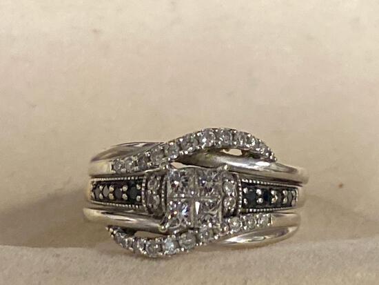 Ladies 10K white gold engagement & wedding rings w/ (4) square center diamonds & other gemstones.