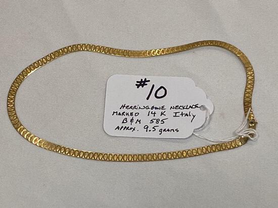 "Marked 14K herringbone necklace, 16"" long, approx. 9.5 grams."