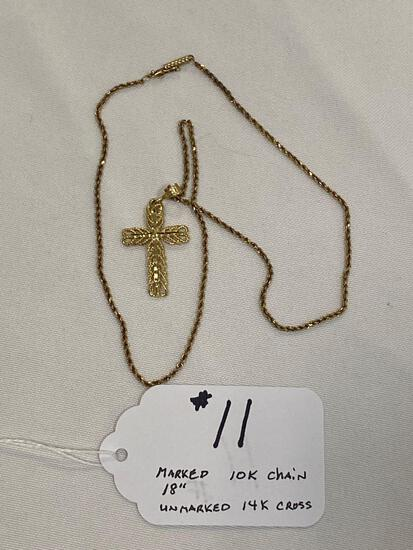 """Marked 10K 18"""" gold chain w/ unmarked 14K cross pendant, approx. 7.7 grams."""
