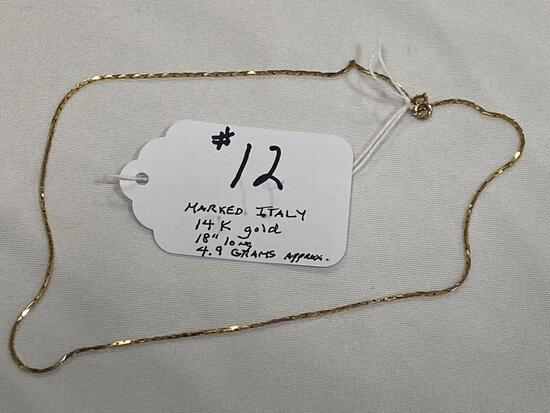 """Marked Italy 14K gold 18"""" necklace, approximately 4.9 grams."""