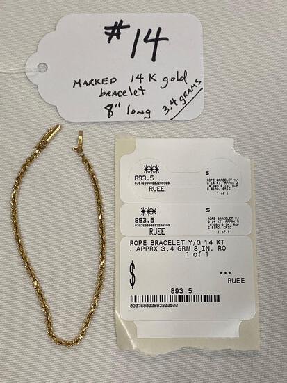 "Marked 14K gold 8"" bracelet, approx. 3.4 grams."
