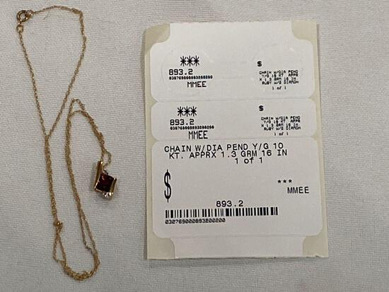 """10K gold chain 16"""" necklace w/ blue gemstone & two diamond chips, approximately 1.3 grams."""