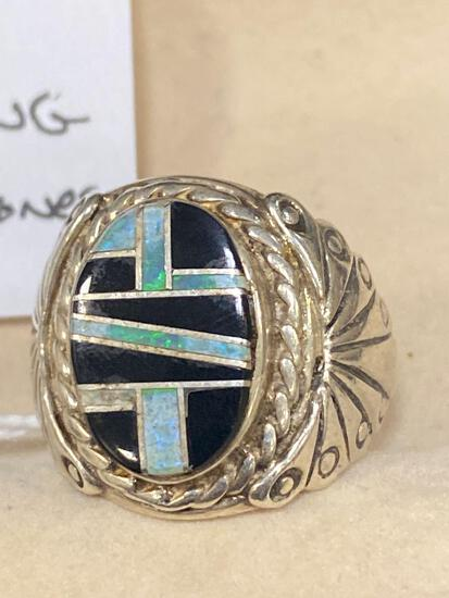 Man's sterling ring w/ turquoise.
