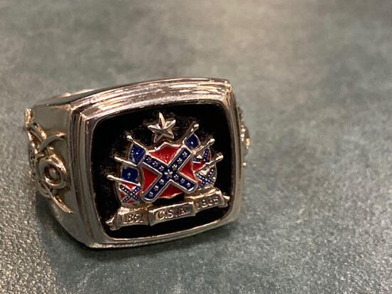 """Man's ring marked """"Pride of the South"""" with Confederate flag 1861-1865."""