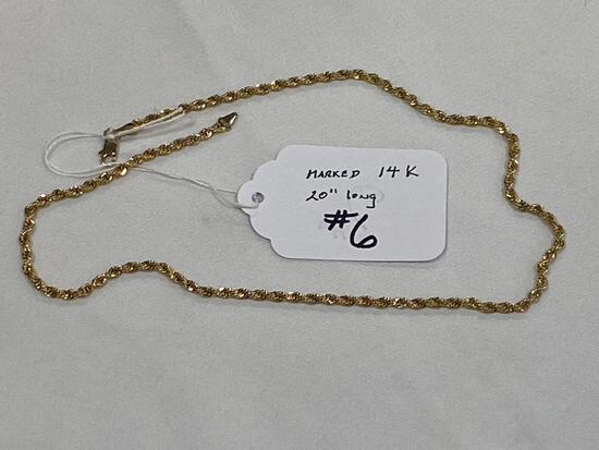 """Marked 14K gold necklace, 20"""" long."""