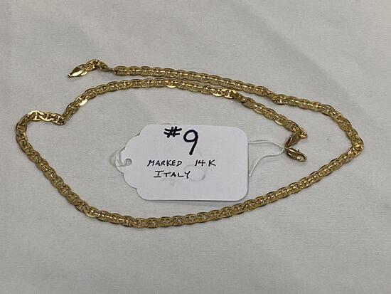 """Marked 14K Italy gold necklace, 23 1/2"""" long."""