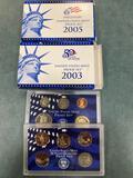 (2) US Mint proof sets ( 2003, 2005). Bid times two.