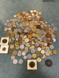 Large lot of foreign coins incl. 1874 date Mexican, Canada, France, Great Britain, Austria, Germany,