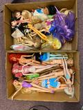 2 flats barbies, Disney and Bratz