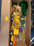 Vintage toy truck, green glassware, candlesticks, glass platter