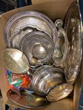 Silver plated, some pewter platters, bowls, candlestick, cookie cutters