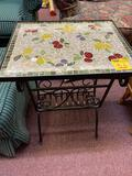 Glass top mosaic table small