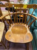Wooden chair, wooden stool, lamp filled with sea shells