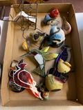 2 flats glass , birds , stain glass, ceramic leaf, 2 cameras, ceramic cars, crock, glass bowl