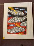 Signed art fish, not framed
