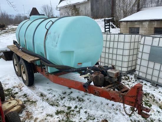 1000 gal tank on tandum trailer