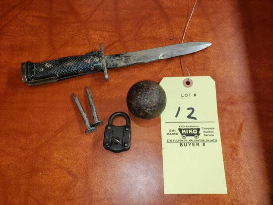 U.S. Bayonette, Cannon Ball, Lock, Numbered Spikes