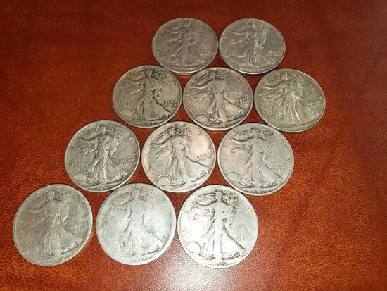 (11) Walking Liberty Half Dollars 1917-1947