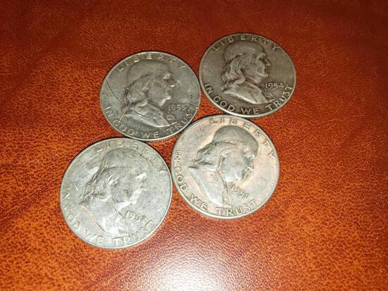 (4) Franklin Half Dollars 1951-1962
