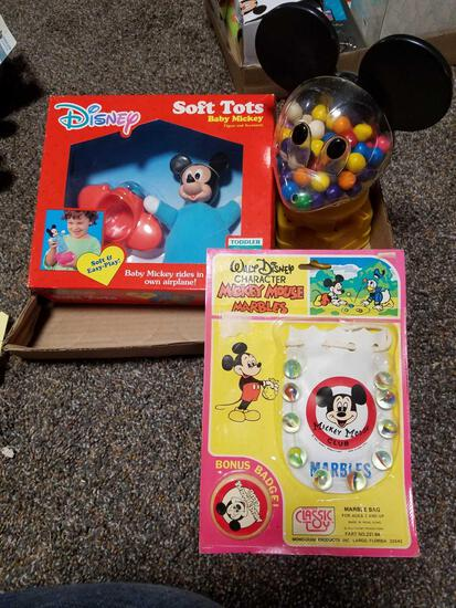 Mickey soft tots, gum ball machine, marbles set