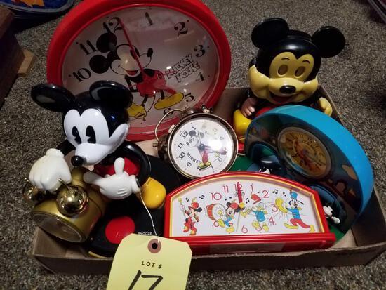Mickey clocks, 6 pieces