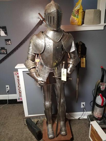 Full scale metal decorative knights suit, adjustable, with sword and base 74 inches tall