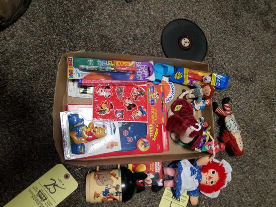 Disney, raggedy ann toys, cup, pencils