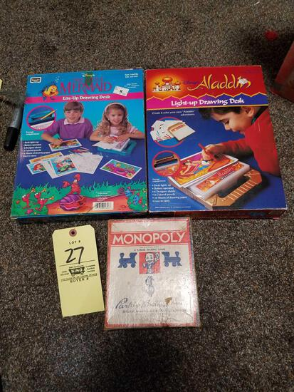 Aladdin, little mermaid drawing desks, monopoly game
