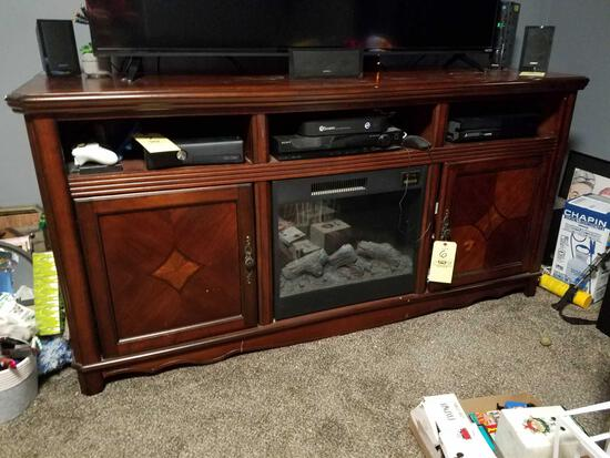 2 door tv stand with built in electric fireplace