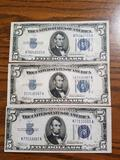 Silver certificates 1934A $5 notes