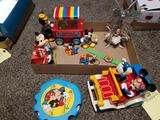 Mickey mouse themed toys, tambourine, corn popper