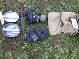 Army sleeping bag two gas masks
