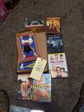 Slinky in the box, dvds, Aladdin toy