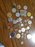 Assorted tokens, coins. DQ lions club, others