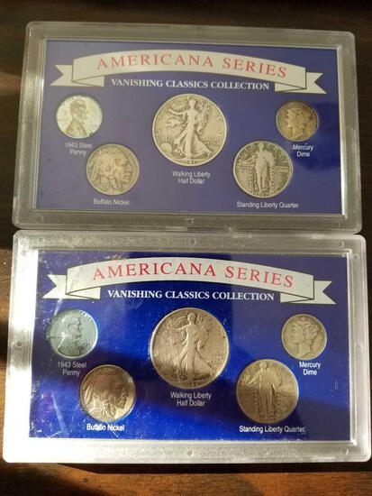 Americana series coin sets with 1941 and 1943 walking liberty halves, bid x 2