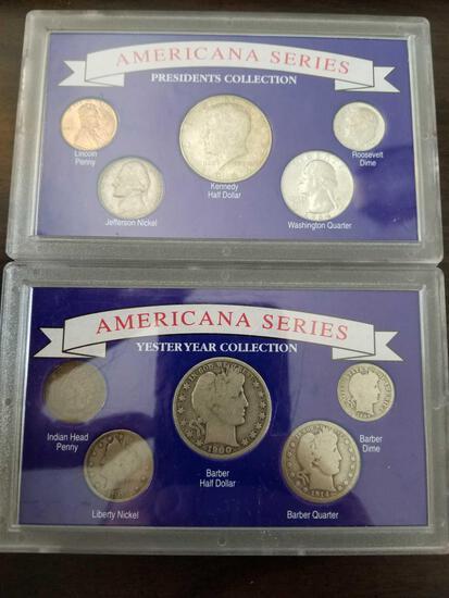 Americana series sets with 1964 Kennedy half and 1900 barber half, bid x 2