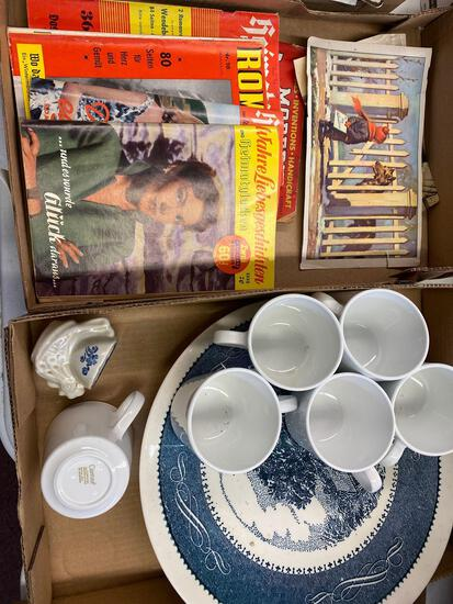 2 flats, 1 with old magazines, mugs, 1 large platter
