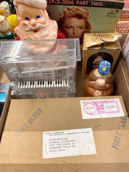 Electrical pieces, Santa candle, Precious Moments, record, piano bank