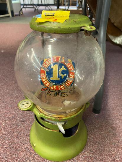 Columbus 1 cent gum ball machine, Northwestern penny merchandise