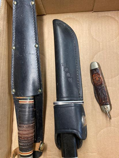 KA-BAR 1205 and buck 119 sheath knives, Boy Scout pocket knife