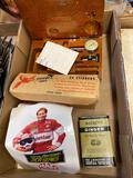 Watkins ginger, Kenny Bernstein stickers, plastic stirrers, wood measuring set?