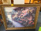 Large framed print, about 3ft tall and green wicker chest