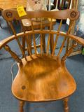 Wood chair, seashell lamp, wood stool