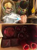 Ruby red glassware, salt lamp, rocks, etc