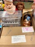 Electrical pieces, Santa candle, Precious Moments, record, piano bank
