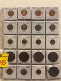 Sheet of coins, proof dimes, nickels, dollar